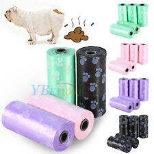 5 Rolls Portable Printed Pet Puppy Dog Cat Waste Clean Poop Pick Up Garbage Bags