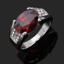 AAA Classic Size 8,9,10,11,12 Fashion Red Garnet 18K Gold Filled Mens Rings Gift