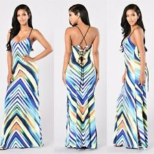 Women Sleeveless Slim Cut Party Cocktail Striped Prom Gown Long Maxi Beach Dress