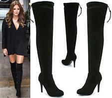 Womens Over The Knee Thigh High Stiletto Heel Ladies Stretch Faux Suede Boots 3-