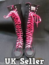 LADIES KNEE HIGH BLACK & PINK LACE PUNK GOTH EMO 20/40 HOLE SNEAKERS BOOTS SHOES