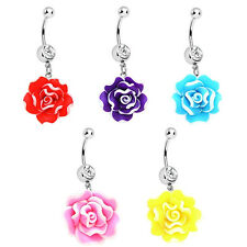 14G Blooming Flower Belly Button Navel Ring Lot Piercing Body Jewelry