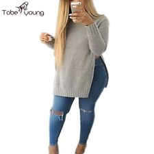 Autumn Winter Fashion Women's Slit Side Knit Jumper Top Casual Pullover Sweater