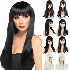 UK Long Straight Full Head Wigs Cosplay Party Daily Fancy Dress With Fringe E10