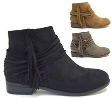 WOMENS ANKLE BOOTS LADIES TASSEL ZIP BLOCK LOW HEELS SHOES COWBOY SIZE