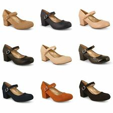 Womens Ladies Mid Block Heel Mary Jane Work Party Pumps Office Court Shoes Size