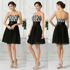 New Lace Short Formal Wedding Bridesmaid Dress Evening Party Black Cocktail Prom