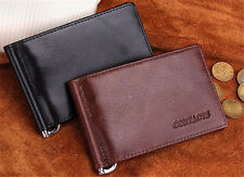 Real Leather ID Photo Coin Holder Purse Trifold Money Clip Card Wallet Gift Mens