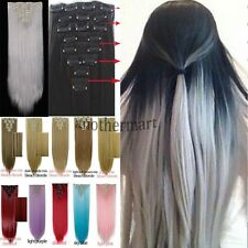 US Grey 8PCS Clips in hair extension long 18clip Fake hair Cheap hairpiece fs21