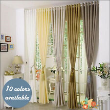Luxury Pure Color Pair Of Poly / linen Pencil Pleat Eyelet Ring Window Curtains