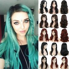 UK Women Long Curly Straight Full Head Wigs Cosplay Party Fancy Dress Blonde F41