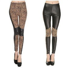 Hot Lady Faux Leather Sexy Leopard Stretch Leggings Women Patchwork Thin Pants