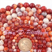 "Round Faceted Cracked Red Agate Gemstone Beads Loose Strand 15"" 8,10,12,14mm"