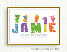 A4 Personalised Name Print Picture Christening Gift Nursery Wallart Dinosaur Boy