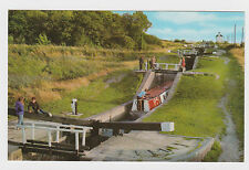 NICE OLD CARD OF BARGE AT FOXTON FLIGHT GRAND UNION CANAL LEICESTER SECTION