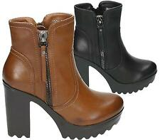 WOMENS LADIES ANKLE BOOTS HIGH BLOCK HEEL CHUNKY PLATFORM ZIP UP SHOES SIZE
