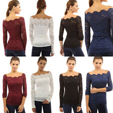 Fashion Women Off Shoulder Sexy Lace Long Sleeve Slim Casual Shirt Top Blouse