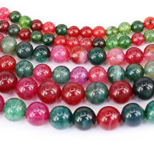 Charm 1String Colorful Agate Gemstone Round Loose Spacer Beads DIY Making 4-12mm