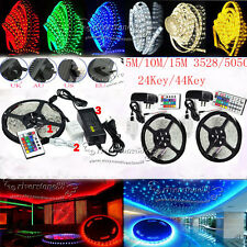 5M/10M/15M RGB 3528/5050/5630/3014 SMD Flexible Light LED Strip Adapter 24/44Key