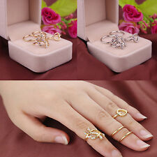 4 Pcs/Set Women Rings Exquisite Alloy Crystal Leaves Heart Knuckle Rings Gifts
