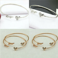 Women Elegant Letter Love Heart Diamante Crystal Simple Open Bangle Bracelet
