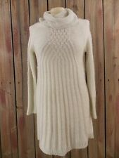 Jessica Simpson Sweater Dress Cable Knit Ivory Cowl Neck Metallic Size S