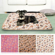 Warm Soft Pet Mat Small Large Paw Print Cat Dog Puppy Fleece Blanket Bed Cushion