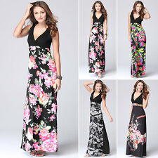 Boho Women's V Neck Floral Swing Maxi Long Dress Summer Holiday Beach Party Gown