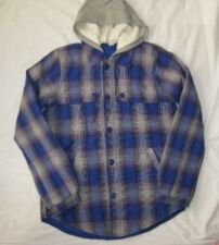 ROXY juniors girls Lrg flannel purple plaid poly filled hooded jacket buttons