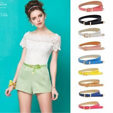 Women Fashion Fine Waistband PU  Leather Thin Skinny Slim Belt-Candy Color