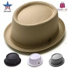 Porkpie Fedora Hat Cotton Roll-Up Band Trilby Cuban Caps 100% Cotton  – PMT 112