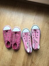 2x Converse all star Girls Pink Hi Tops  Trainers size 10 1/2  And Low Size 10
