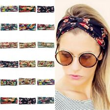 Women Mix Color Elastic Turban Head Wrap Headband Twisted Knotted Hair Band