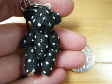 Unique Tiny Small Miniature Jointed Black Spotted Bear or Rabbit  4.5cm UKSeller