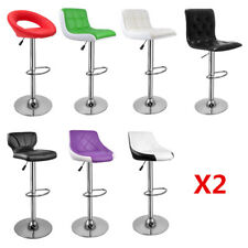 Set of 2 Bar Stools Chrome Faux Leather Kitchen Pub Barstool Breakfast Bar Chair