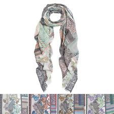 Premium Tribal Paisley Floral Print Frayed Edge Scarf Shawl Wrap - Diff Colors