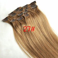 8pcs100g Remy Human Hair Clip In 100%Real Hair Extensions Honey Blonde Full Head