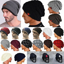 Mens Womens Fashion Beanie Hat Baggy Wool Cap Winter Warm Knitted Ski Hat Unisex