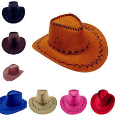 Western Cowboy Faux Suede Leather Hat Wide Brim Outback Cap Sunhat ZHN