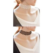 Ladies Gothic Bib Collar Statement Choker Lace Necklace Jewelry Gift Black/White