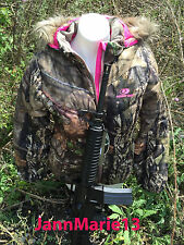 Women's Mossy Oak Camo Camouflage Fur Bubble Jacket Coat w/ Pink S M L XL 2XL