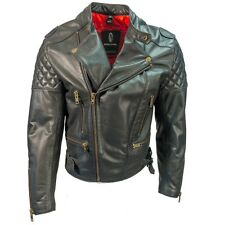 Richa Triple Quilted Classic Vintage Leather Motorcycle Motorbike Jacket - Black