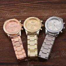 Unisex Lady Women Stainless Steel Quartz Analog Wrist Watch Geneva Vintage New