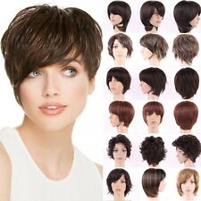 Fashion Haircut Short Wigs Women Curly Straight Wave Synthetic Hair Costume Wig