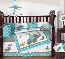 GENDER NEUTRAL MODERN ELEPHANT THEME TEAL AND GREY BABY NURSERY CRIB BEDDING SET
