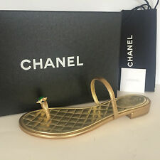 CHANEL CC GOLD JEWELED TOE RING LEATHER MULES THONG SANDALS FLAT 39 & 40 $850