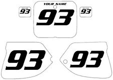 1993-1995 SUZUKI RM250 Custom Pre-Printed White Backgrounds Black Numbers
