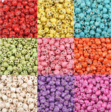20/50/100PCS Wholesale Turquoise Carved Skull Head Howlite Spacer Loose Beads