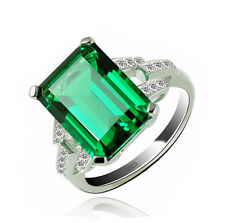 RING SOLID STERLING 925 SILVER RUSSIAN EMERALD PURE CROWN GEMSTONE CUT JEWELRY