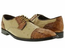 mens beige brown genuine ostrich crocodile skin leather dress shoes wing tip